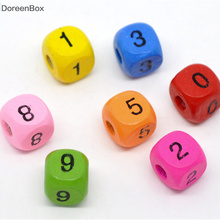 Дорин коробка горяч-200 микс разноцветных цифровая Бусы из деревянных кубиков 10x9 мм(B11301