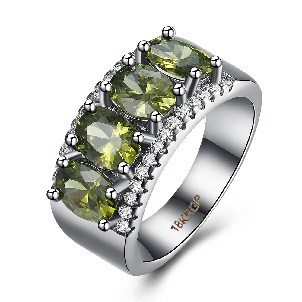 Exquisite Simulated Emerald Ring 925 Sterling Silver Engagement Wedding Ring  Size 6 7 8 9(