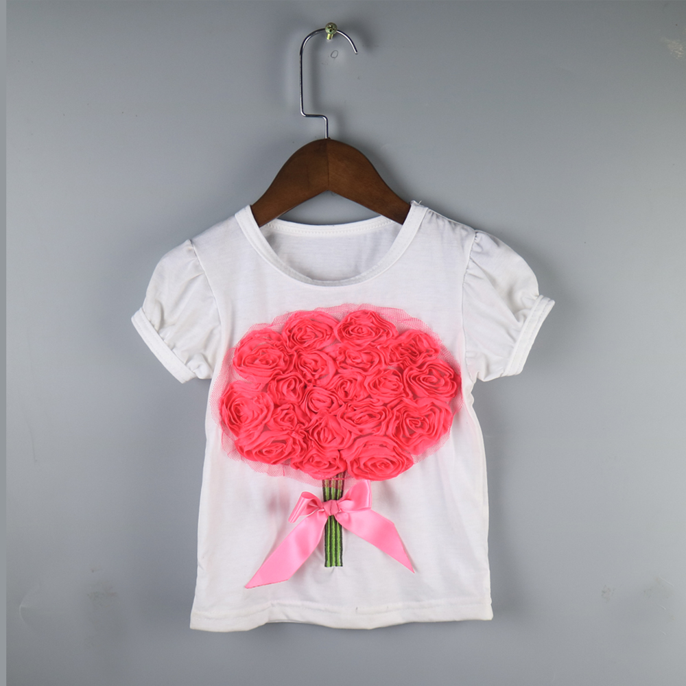 Random Styles Ship Children Girl Summer T-shirts Children Wholesale Ruffle Summer Tees Fashion Shirts Dress