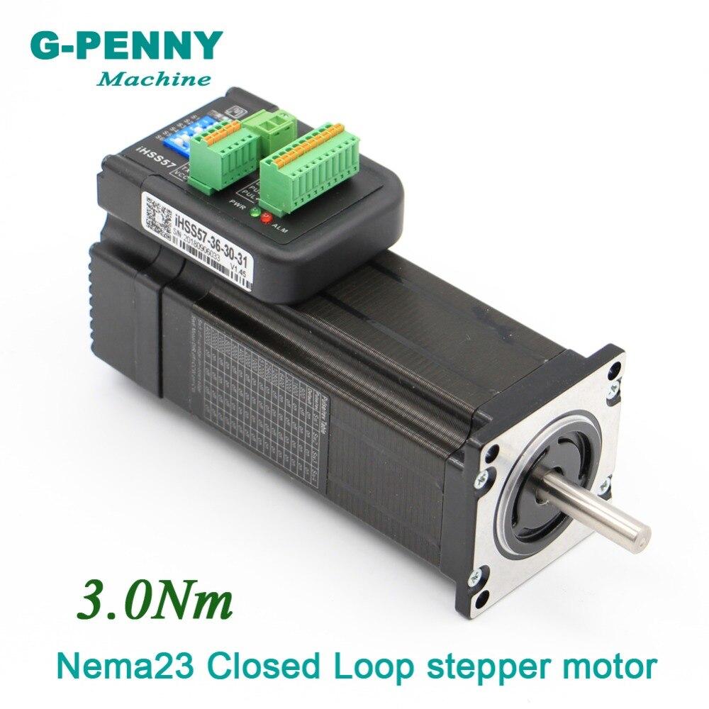 Nouveau! Boucle fermée Stepper moteur Nema23 57x112mm 3.0Nm 8mm 428Oz-in 5.0A 20-50 v Hybride Intégré pas à pas Servo Moteur avec chauffeur