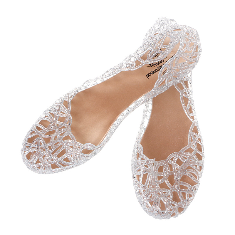 THINKTHENDO Crystal Jelly Hollow Out Birds Nest Flat Sandal New Summer Beach Silve Shoes Size 37 to 40 lcx 2017 summer pvc hollow out sandals glitter flat stock the bird nest hole wholesale or retail