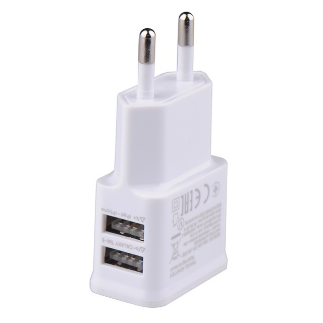 USB Charger 5V 2.0A 1.0A  EU Plug Dual Universal mobile phone charger Wall AC Power Charger  For iphone ipad ipod Samsung