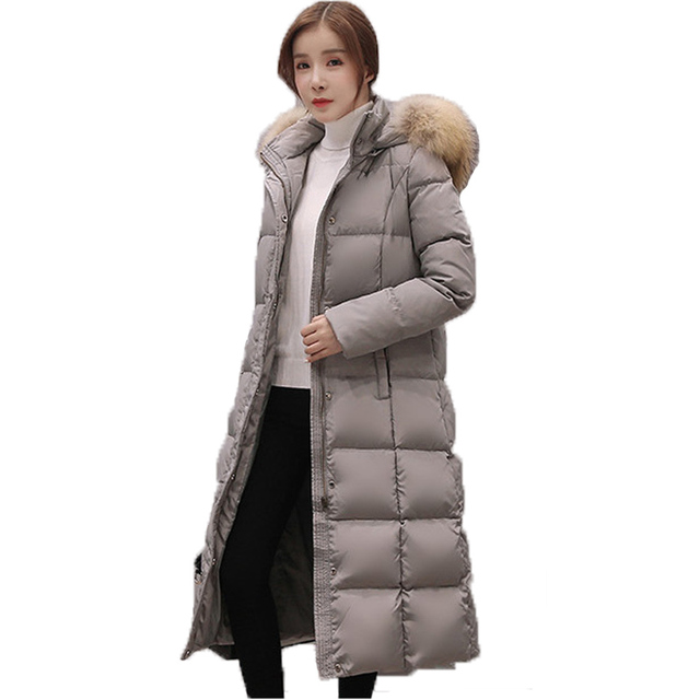 Fashion Women Long Duck Down Casacos De Inverno Feminino 2017 Winter Slim Long Sleeve hooded Real Fur Collar Thick Down Jacket