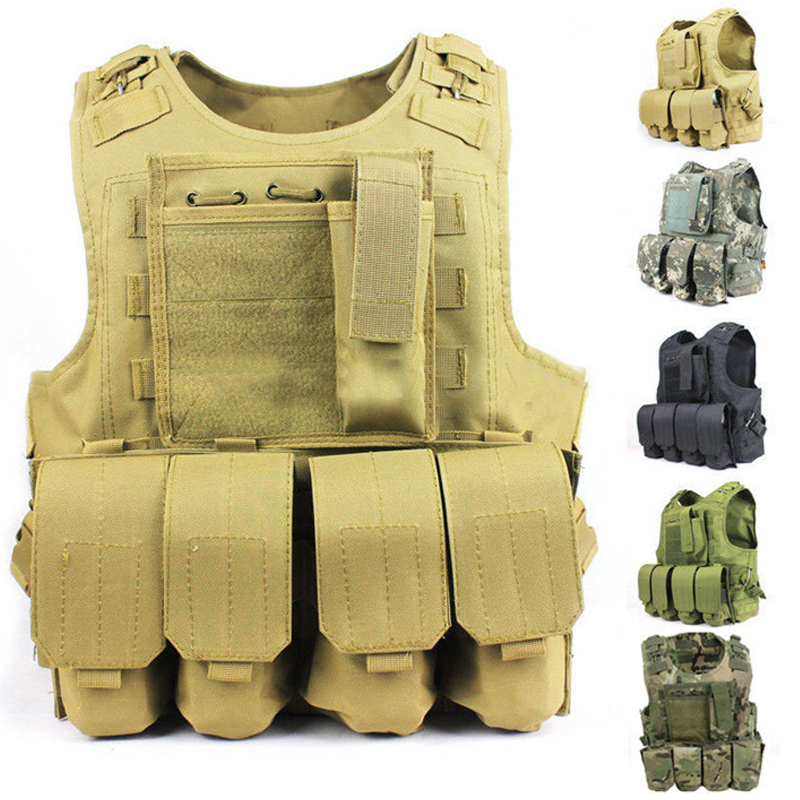 Quick Release Military Modular Molle CIRAS Tactical Vests Assault Vest Airsoft Combat Vests Includes Mag Pouch & Acessory Bag