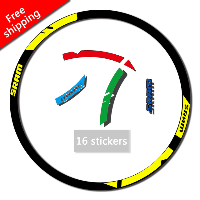 abbd5346bd3 SRAM Wheel Rim stickers Handmade champion Stickers For mountain bike  Bicycle SRAM MTB Race replacement decal free shipping