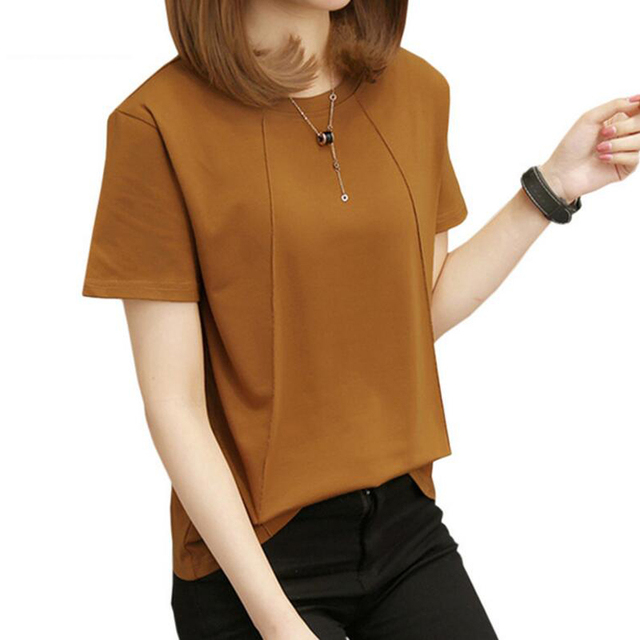 2018 Latest M-5Xl Plus Size T-Shirts Women Basic Casual Loose Tees Female 5055a97a8a