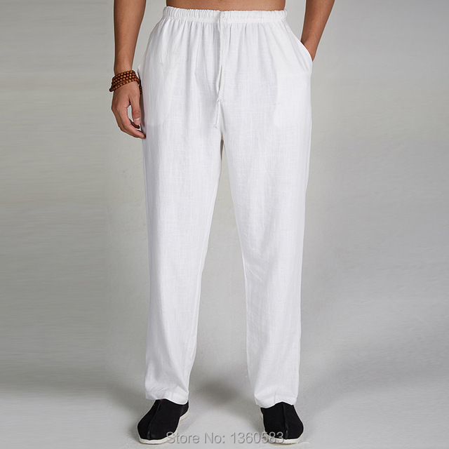 85643e4a3803 Bianco Uomo Cinese Pantaloni di Lino Kung Fu Tradizionale di Arti Marziali  Tai Chi Pantaloni Pantaloni