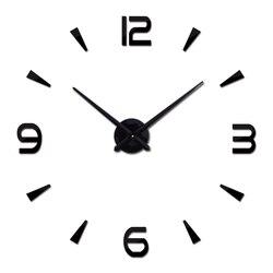 Короткие модные настенные часы для гостиной Дизайн Акриловые зеркальные часы Европа Diy 3d наклейки большие декоративные кварцевые часы