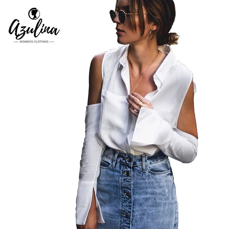 AZULINA camisa Casual blusa blanca Mujeres sexy hombro frío volver hendidura de