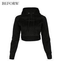 BEFORW Drop Shoulder Raw Hem Crop Hoodie Women S Pullover New Cotton Short Hoodies Sweatshirts Long