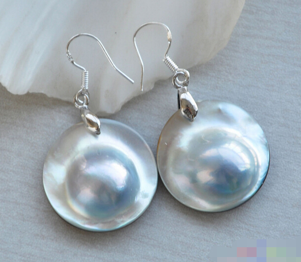 FREE SHIPPING>>> free shipping 12284 GRAY SOUTH SEA MABE PEARL DANGLE EARRING