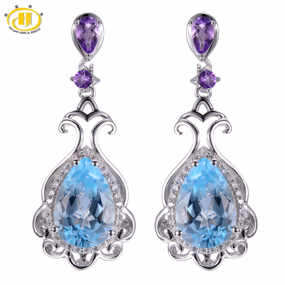 Hutang Vintage Style 6.78ct Natural Blue Topaz & Amethyst Solid 925 Sterling Silver Earrings Fine Jewelry For Women Luxury Gift