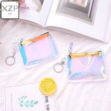 XZP женский маленький мешок для монет, Модный Лазерный ПВХ прозрачный кошелек для девочек, женские кошельки, мини кошелек для денег, кошелек для монет, Детский Рождественский подарок