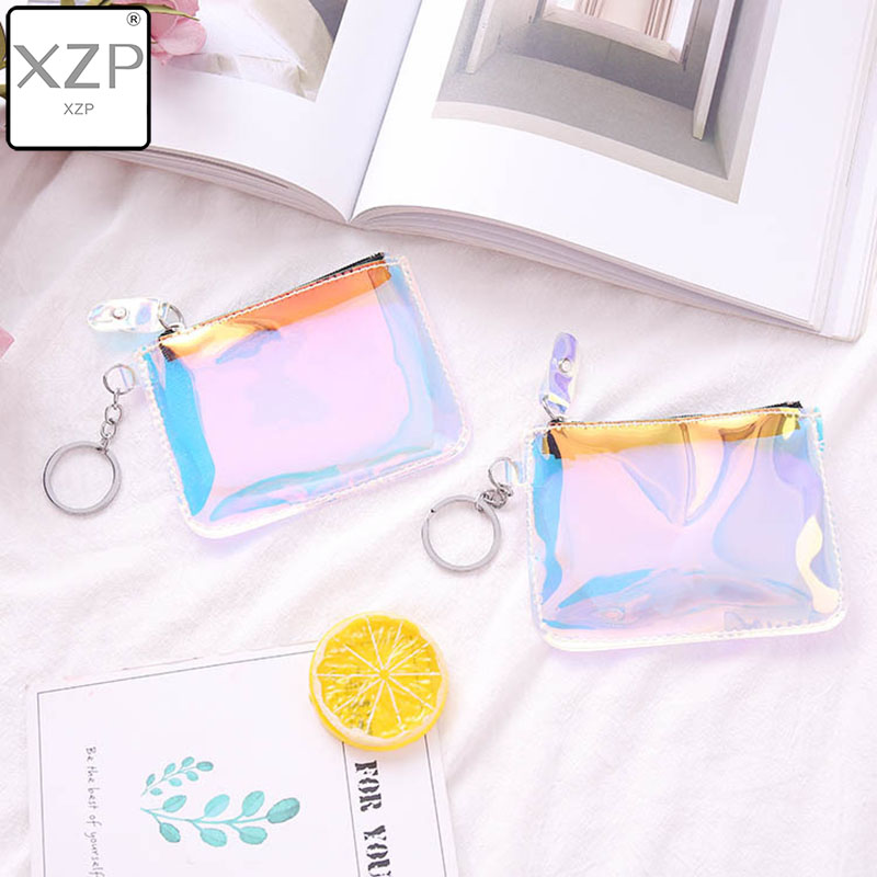 XZP Women Small Coin Bag Fashion Laser PVC Clear Girls Wallet Purses Female Mini Money Key Coin Pouch Kid Christmas Gift