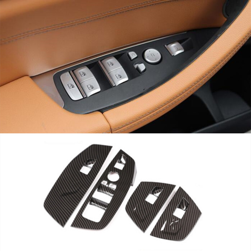 ABS Car Window Glass Lifting Buttons Cover Trim For <font><b>BMW</b></font> <font><b>X3</b></font> <font><b>G01</b></font> G08 2018 LHD <font><b>Carbon</b></font> Fiber Style Door Armrest Panel Decoration image