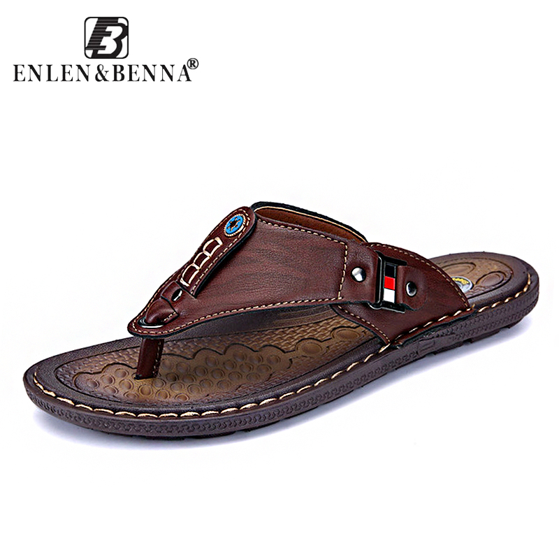 2018 Brand Summer Beach Flip Flops Men Pu Leather Slippers Male Flats Sandals outdoor Rubber Thong Beach Shoes Men Leather New