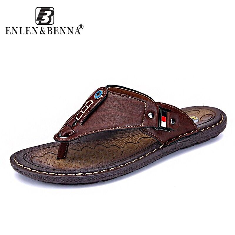 2018 marca verano playa Flip Flops hombres Pu zapatillas de cuero masculinos sandalias al aire libre correa de goma playa zapatos hombres cuero nuevo