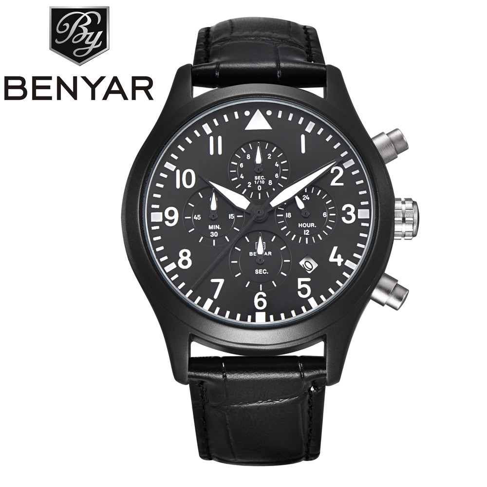 BENYAR Mens top Luxury Brand Quartz Diving Watch reloj hombre Leather waterproof Fashion Casual Watches men relogio masculino men watch luxury fashion faux leather mens blue ray glass quartz analog watches handsome relogio masculino feloj hombre m1