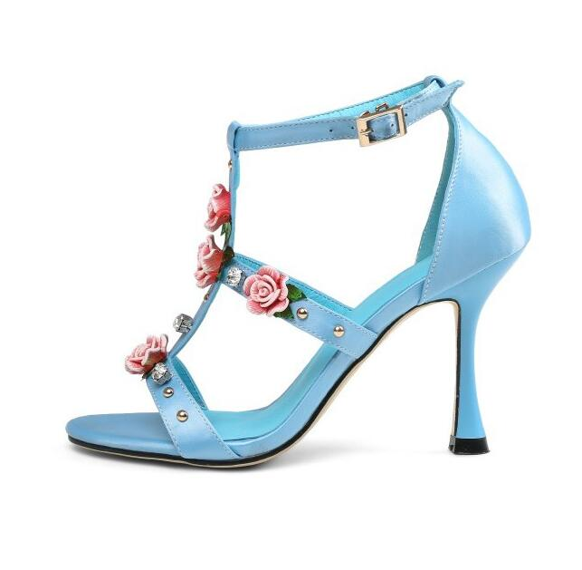 Hot selling rose flower decorations high heel sandal sexy open toe pink blue leather cutouts sandal t-strap crystal heels shoes Hot selling rose flower decorations high heel sandal sexy open toe pink blue leather cutouts sandal t-strap crystal heels shoes