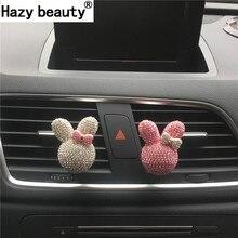 Hazy beauty Rhinestone cute rabbit Shape Diamond bow perfume car air freshener Car Parfume Car-styling