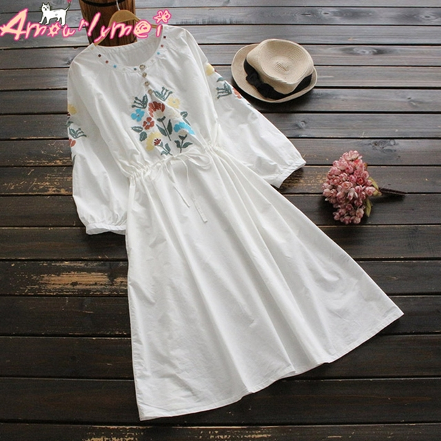 d11fd1c58d4 Amourlymei 2018 Spring Women Dress Mori Girl Vintage Flower Embroidery Long  Sleeve Cotton Casual Dress Vestidos