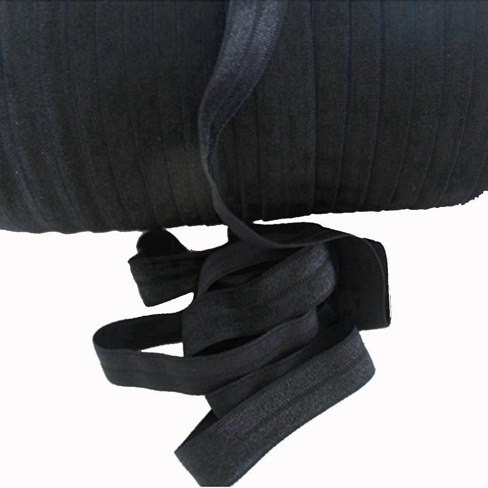 #030 black 5/8 inch FOE solid Fold Over Elastic 50yards/lot Shiny for elastic Headbands Hair Ties Hairbow