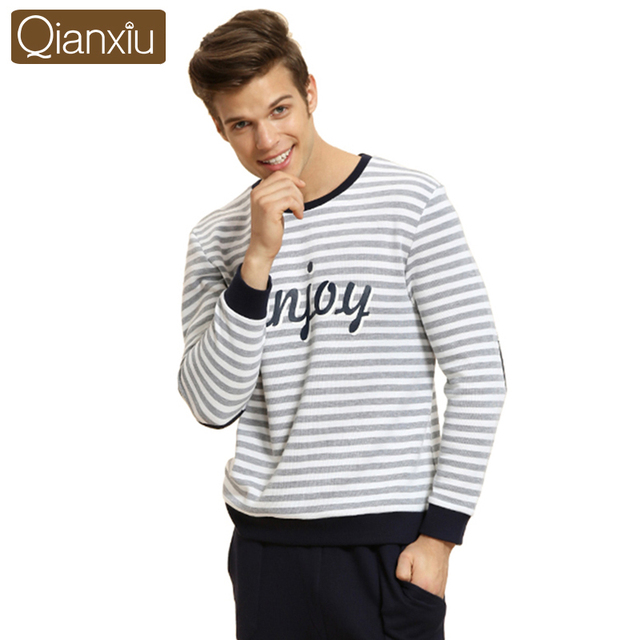 Qianxiu Pajama Suit For Men Knitted Cotton Home For Man ComfortableClassic Stripes Casual  Lounge Wear