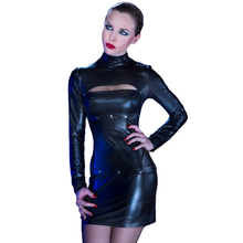 2017 Women Mini Erotic Dress Snap Fasteners New Stylish Design Removable Bra Hem Long Sleeve Faux Leather Sexy Lingerie Babydoll