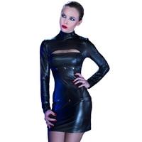 2018 Women Mini Erotic Dress Snap Fasteners New Stylish Design Removable Bra Hem Long Sleeve Faux Leather Sexy Lingerie Babydoll