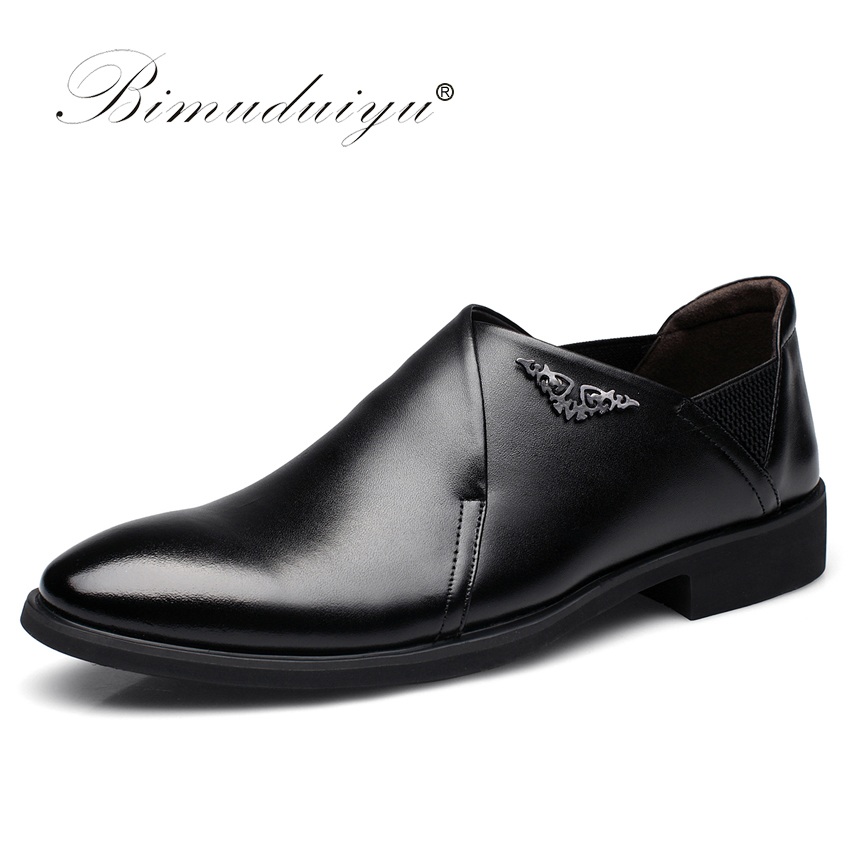 BIMUDUIYU New Men Dress Slip-on Black/Brown Oxford Shoes Fashion Casual Style Male Leather  Pointed Toe Party And Wedding Shoes ipl laser hair regrowth massager vibrator comb for electric scalp stimulator hair loss hair growth treatment
