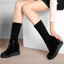 New Trainers Women Shoes Genuine Leather Wedges Platform High Heel Riding Boots Hi-Top Winter Warm Pumps Round Toe Long Sneakers цена