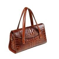 High quality luxury split leather pillow bag crocodile pattern women messenger bags fashion boston shoulder clutch office tote