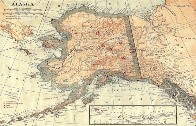 Alaska topographic Map of North America Classic Vintage Retro Kraft ...