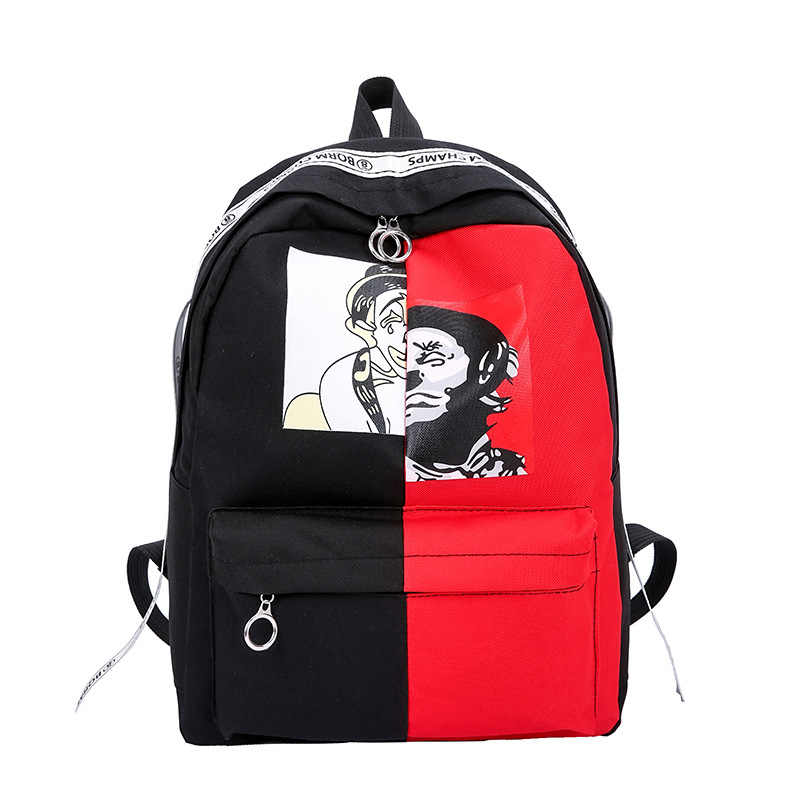 12ef17259a Graffiti Printing Backpack Canvas Women Men Rucksack School Bag For  Teenagers Girls Boys Couple Backpacks Casual