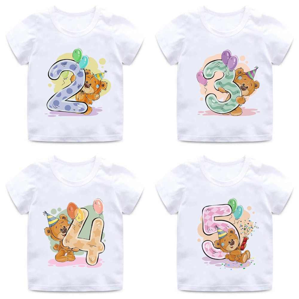 Boys/Girls Birthday Bear Number 1-9 Bow Print T shirt Baby Cartoon Winnie Funny T-shirt Kids Birthday Present Clothes,HKP5237