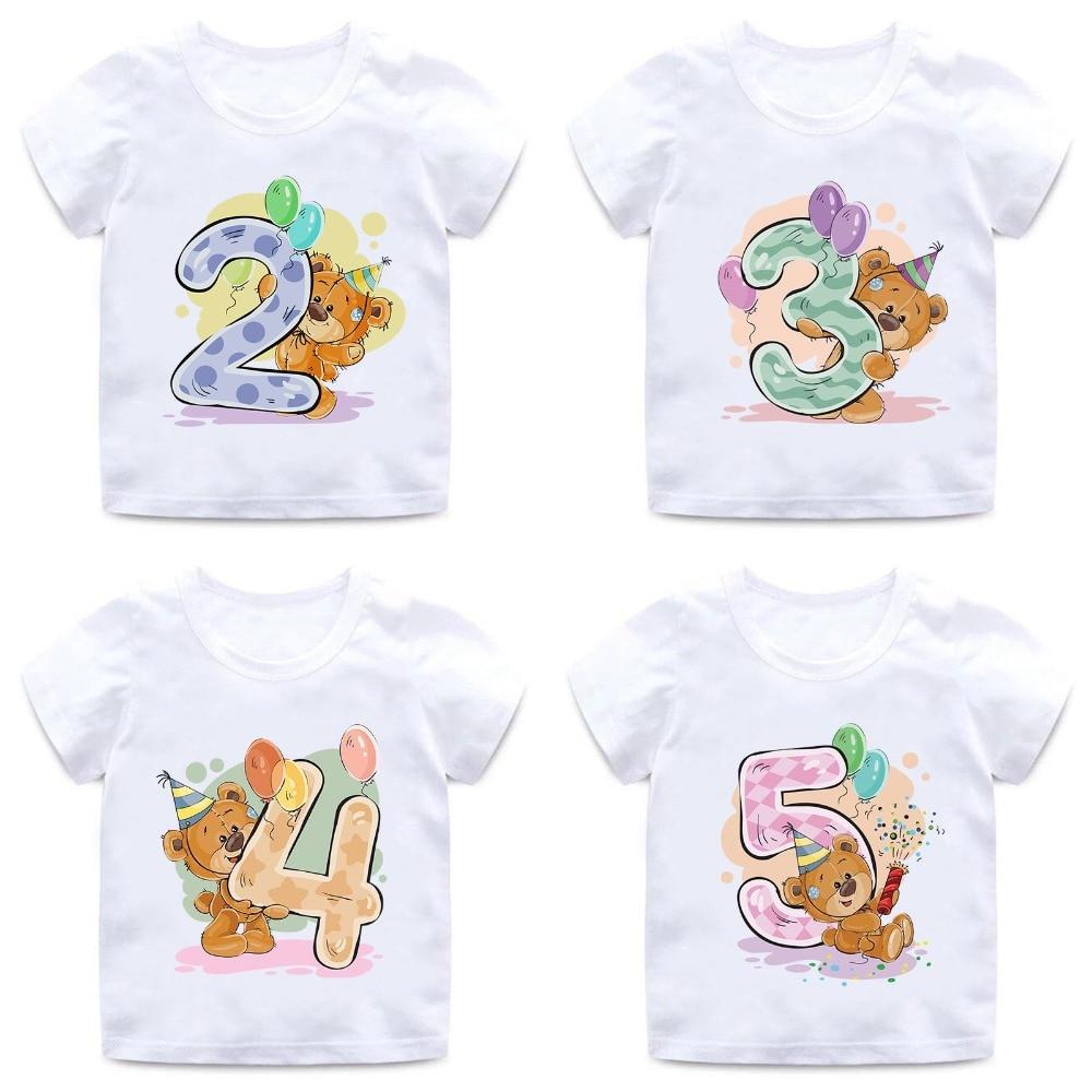 Boys/Girls Birthday Bear Number 1-9 Bow Print T shirt Baby Cartoon Winnie Funny T-shirt Kids Birthday Present Clothes,HKP5237