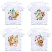 Boys/Girls Birthday Bear Number 1-9 Bow Print T shirt Baby Cartoon Winnie Funny T-shirt Kids Present Clothes,HKP5237