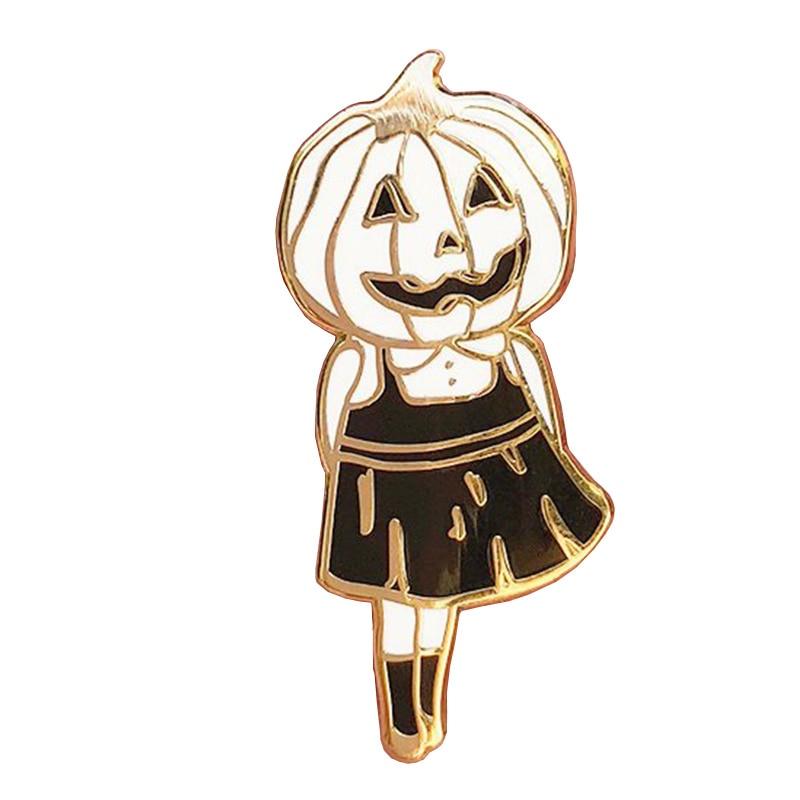 Pumpkin head girl enamel pin