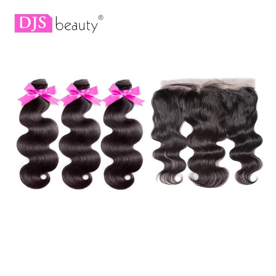 8a Djs Schönheit Haar Brasilianische Reines Haar 3 Stücke Körper Welle Bundles Mit 13*4 Spitze Frontal Natürliche Farbe Freies Verschiffen