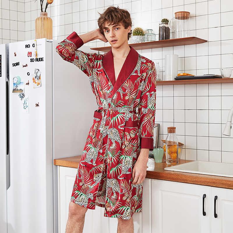 קיץ מזדמן גברים חלוק קימונו חלוק רחצה מודפס זהורית הלבשת ארוך שרוול בית בגדי סאטן חלוק כתונת לילה L XL XXL