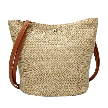 Summer Beach Woven Bags Women Straw Handbags Zipper Shoulder Bag Fashion Large Shopping Bags Tote Female Large #xxf handbag