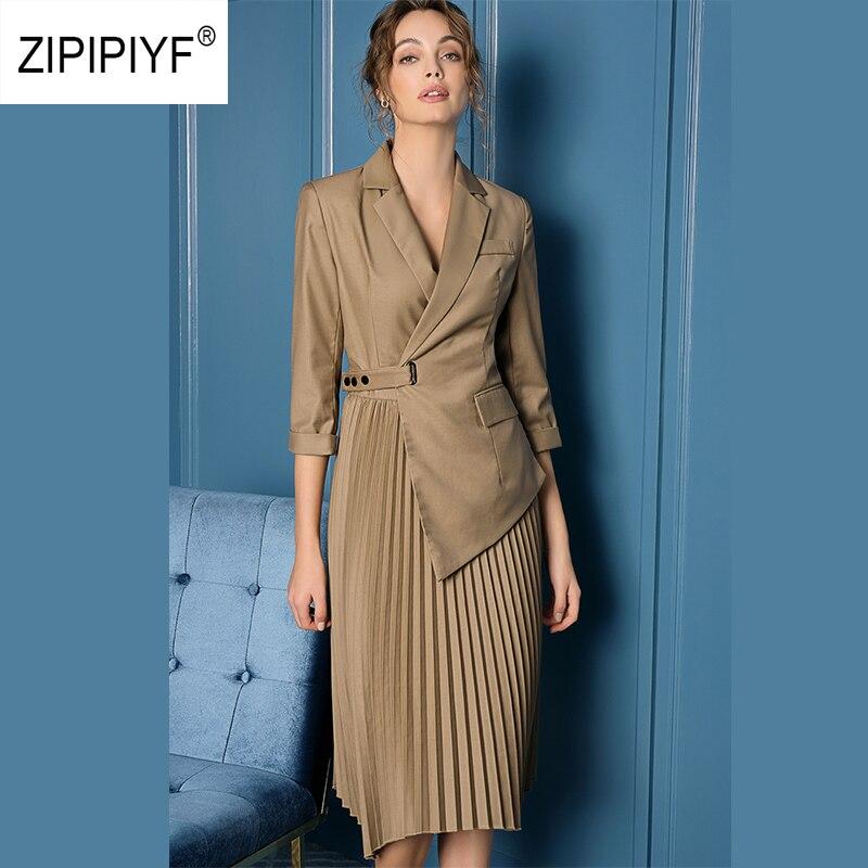 ORIGINAL Zipipiyf Runway Fashion Dresses Office Ladies Notched Irregular Pleated Dress Criss cross vogue sukienka damska