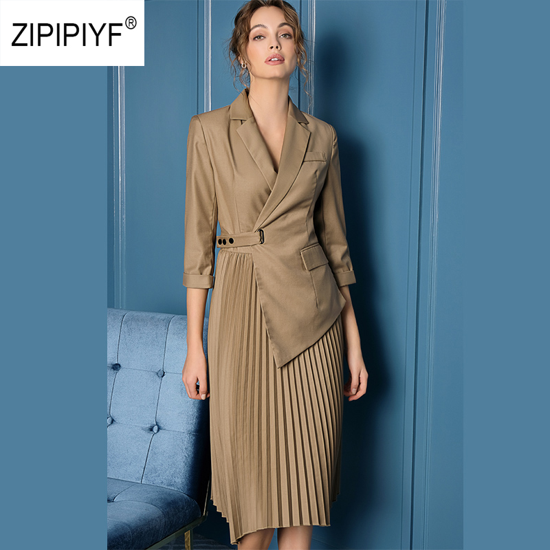 ORIGINELE Zipipiyf Runway Fashion Jurken Office Dames Notched Onregelmatige Geplooide Jurk Criss cross vogue sukienka damska AB384-in Jurken van Dames Kleding op  Groep 1