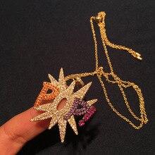 GODKI luksusowy list Popi Punk wieżowych naszyjnik piękny pełny Cubic cyrkon moda urok kobiety Party biżuteria prezent