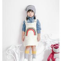 New 2016 Spring Summer Children Clothing 1 5Yrs Baby Girls Dress Rainbow Knitted Sweater Fashion High
