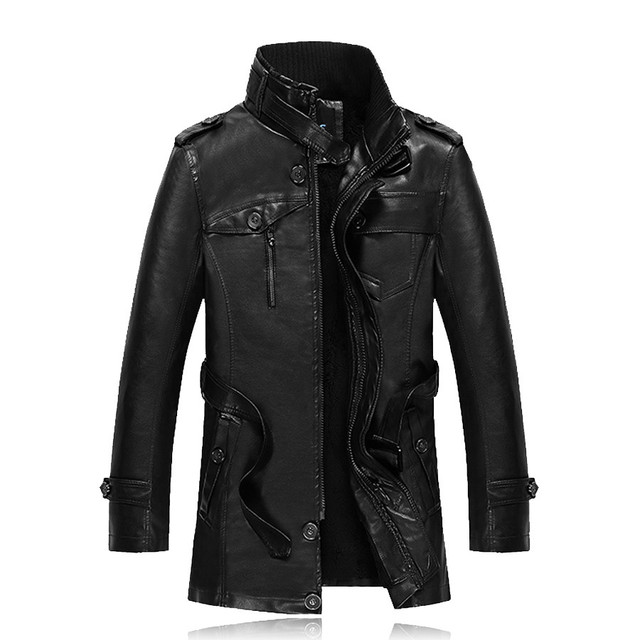 Men Leather Jacket Brand Winter Snow Warm Fleece Coats Male Slim Fit PU Leather Motorcycle Trench Coats Jaqueta De Couro SL-E453