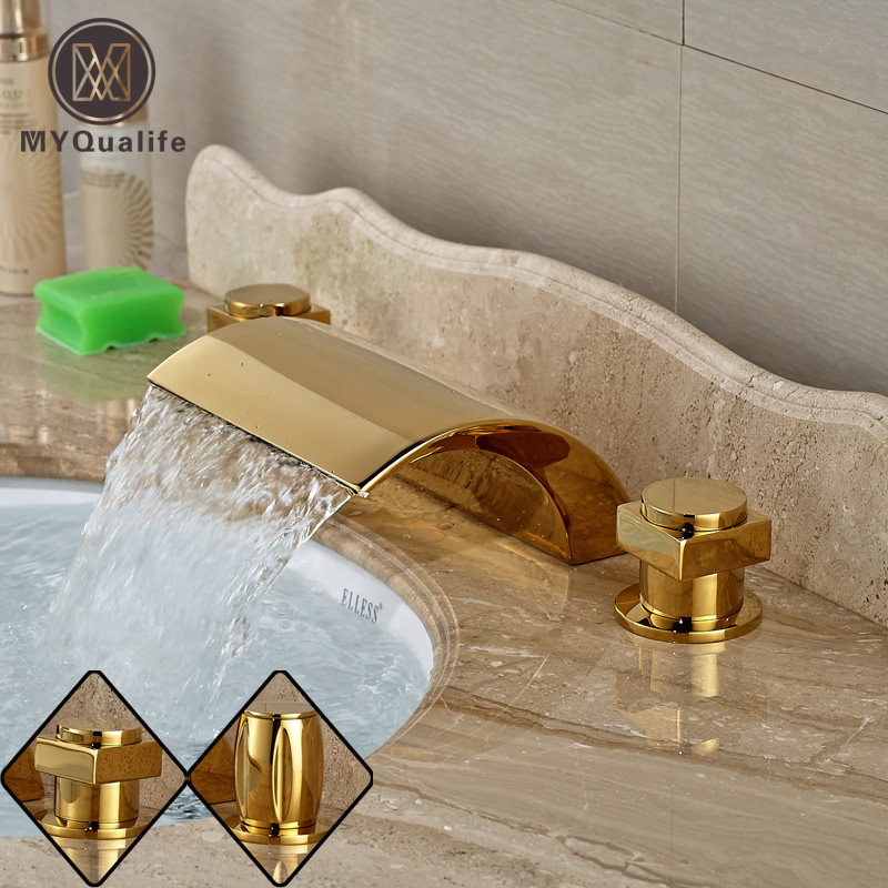 Deck Mount Golden Dual Handles Basin Faucet Widespread Bathroom 3 Holes Washbasin Mixer Taps luxury deck mount dual handles bathroom brushed nickel basin faucet 3 holes widespread mixer taps