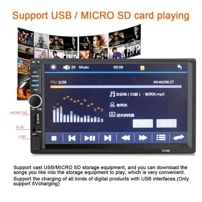 7 นิ้ว 2 DIN Mirror Link Auto-สนับสนุนวิทยุบลูทูธสเตอริโอ FM TF USB วิทยุรถยนต์สากล MP5 MP4 เครื่องเล่น HD Touch Screen