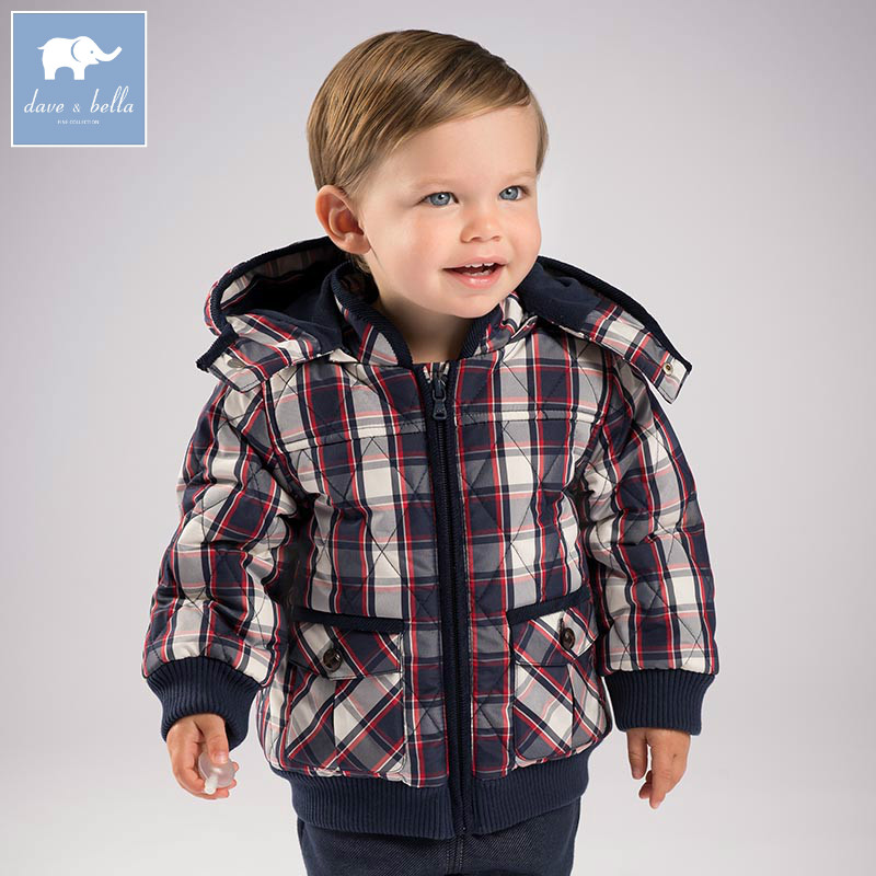 DB5634 dave bella winter infant baby boys fashion Jackets toddler Hooded plaid outerwear children hight quality coats db5472 dave bella winter infant baby boys lovely jackets toddler boys outerwear children hight quality coat