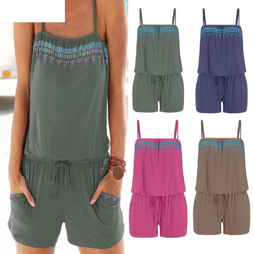 JAYCOSIN 2018 New Womens Holiday Casual Mini Playsuit Ladies   Jumpsuit   Summer Beach Rompers Girls Dropshiping july11